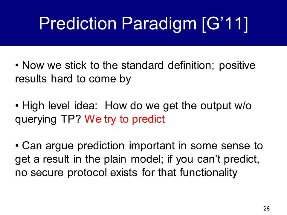 Prediction Paradigm [G'11]